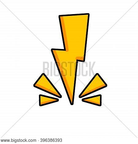 Lightning. Yellow Icon. Symbol Of Speed, Attention And Shock.
