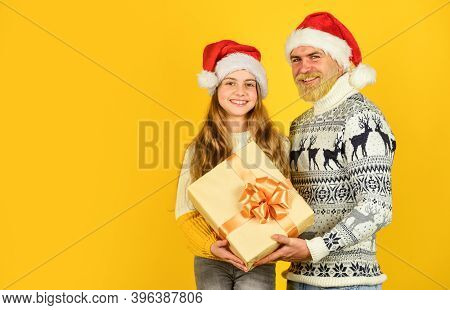 Christmas Tradition. Christmas Eve Concept. Family Bonds. Winter Holidays. My Dear Daughter. Father