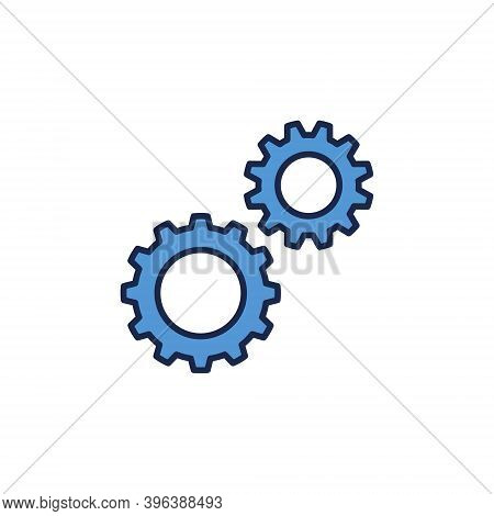 Two Cogs Creative Icon. Settings Vector Concept Blue Symbol On White Background