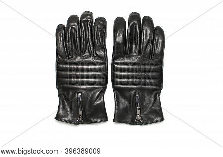 Black Classic Leather Mens Gloves On White Isolated Background Top View. Stylish Fashionable Winter