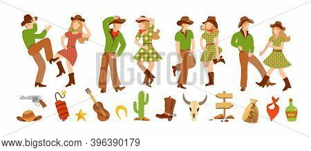 Set Of Young Man And Woman In Western Country Clothes, Boots And Cowboy Hats Dancing In Flat Style.