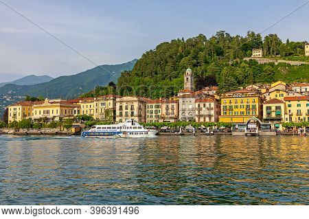 Bellagio, Italy - June 14, 2019: Waterfront Houses At Lake Como In Bellagio, Italy.