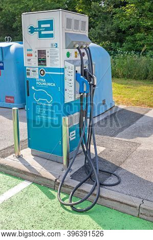 Otocec, Slovenia - June 12, 2019: Fast Charger For Electric Vehicles At Petrol Station Near Otocec,