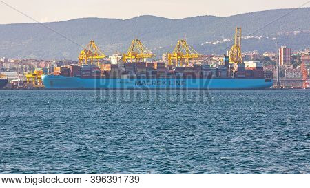 Trieste, Italy - June 17, 2019: Loading Container Ship Maersk Line At Port In Trieste, Italy.