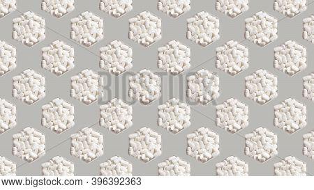 Medical Pills In Hexagonal Jars On Gray Background