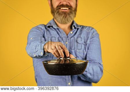 Cooking. My Profession. Baker With Saucepan Pot. Catering. Chef Man Holds Kitchenware. Cook Man Hold