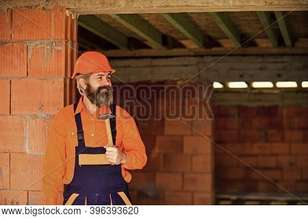 Build And Construction. Skilled Architect Repair And Fix. Engineer Career. Mature Bearded Man Use Ha
