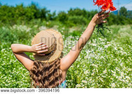 Botanical Haircare Products For Healthy Curls. Little Girl Wear Hat On Wavy Hair. Hair Salon. Spa An