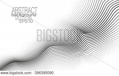 Monochrome Diagonal Wave. Technology Background Concept. Black, Gray, White Undulating Curves. Line