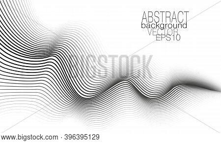 Monochrome Wave Concept. Black, Gray, White Undulating Curves. Technology Background. Line Art Patte