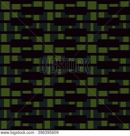 Seamless Pattern. Figures Ornament. Embroidery Background. Folk Wallpaper. Shapes Backdrop. Tribal M