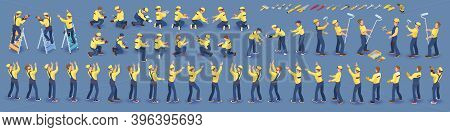 Set Of Isometric Workers. Repairers In Overall, Various Poses. Vector.