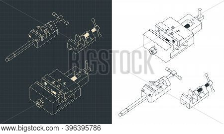 Bench Vice Isometric Drawings Mini Set
