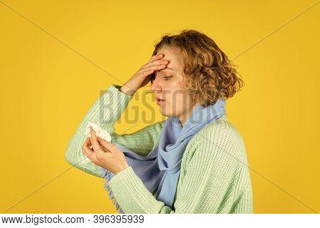 Chronic Sinusitis. Cold Flu Symptoms. Sick Woman Blowing Nose. Contagious Respiratory Disease. Influ