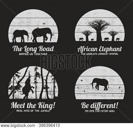 Set Of Black And White Retro Illustrations With Silhouettes Of Elephants. Texture Backgrounds With B