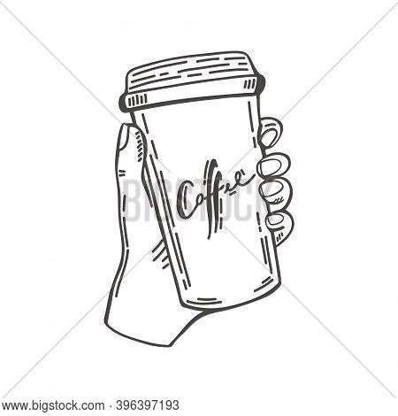 Sketch Black And White Hands Holding A Disposable Cup Of Coffee. Vintage Black Vector Engraving Illu