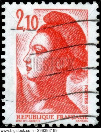 Saint Petersburg, Russia - September 27, 2020: Postage Stamp Issued In The France With The Image Of