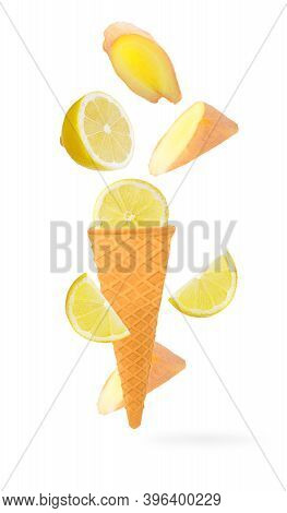 Sweet Flying Fruits In Ice Cream Waffle Cone In Motion