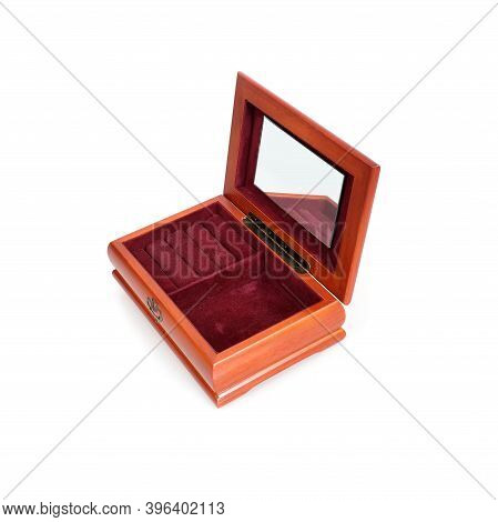 Wooden Jewelry Storage Box Isolated On White Background