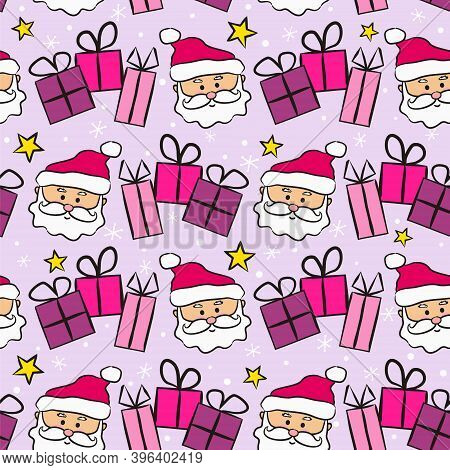 Seamless New Year Pattern With Santa Claus And Gifts. Christmas Gift Background In Pink And Lilac Co