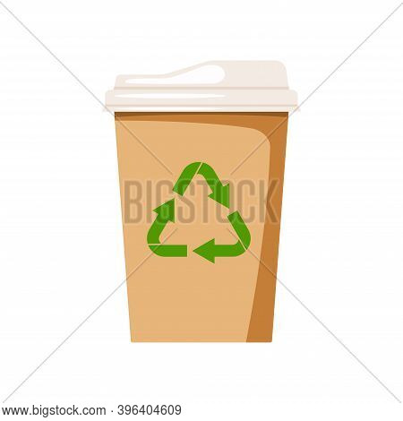 Coffee To Go Eco Cup Isolated On White Background. Eco Friendly Paper Tableware With Recycling Sign