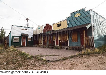 Cripple Creek, Colorado - September 16, 2020: Tourist Attraction Buildings, Now Abandoned, Part Of T