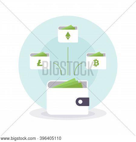Bitcoin Ethereum Litecoin Cryptocurrency Wallets. Online Wallet Symbol. Vector Illustration Eps10