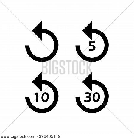 Return Icon Or Rewind To 5, 10 And 30 Sec. Return Icon Set. Vector Eps10