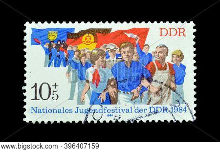 East Germany - Circa 1984 : Cancelled Postage Stamp Printed By East Germany, That Promotes  National