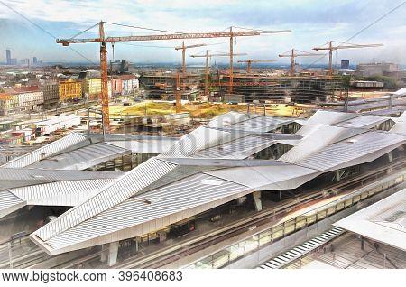 Construction Of Wien Hauptbahnhof, Central Train Station, Vienna, Austria.
