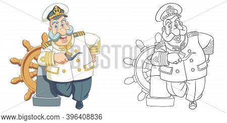 Coloring Page With Ship Captain. Line Art Drawing For Kids Activity Coloring Book. Colorful Clip Art