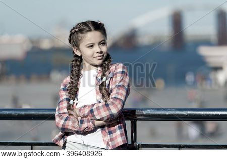 Sunny Day Walk. Leisure Options. Free Time And Leisure. Girl Cute Kid With Braids Relaxing Urban Bac