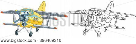 Coloring Page With Biplane. Line Art Drawing For Kids Activity Coloring Book. Colorful Clip Art. Vec