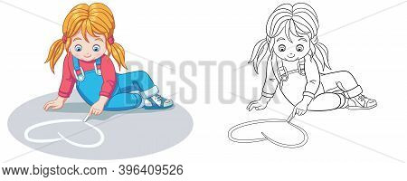 Coloring Page With Girl Drawing Heart. Line Art Drawing For Kids Activity Coloring Book. Colorful Cl