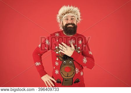 Barbershop Services. Man With Long Beard And Mustache. Emotional Guy. Weather Forecast. Winter Fashi