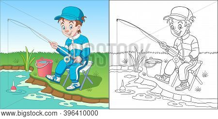 Coloring Page With Boy Fishing. Line Art Drawing For Kids Activity Coloring Book. Colorful Clip Art.