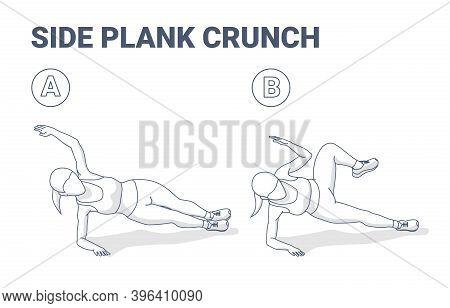 Side Plank Crunch Female Home Workout Exercise Guide Illustration Outline Concept