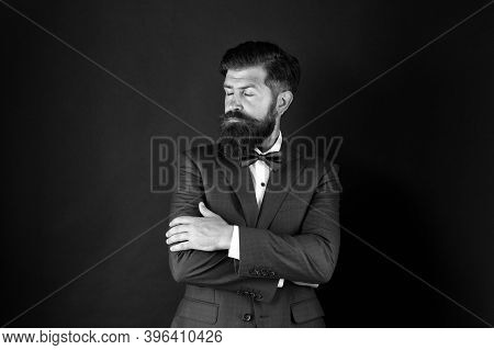 Well Groomed Man Beard In Suit. Male Fashion And Aesthetic. Classic Style Aesthetic. Businessman For