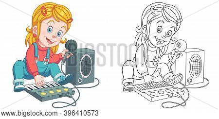 Coloring Page With Girl Playing Music. Line Art Drawing For Kids Activity Coloring Book. Colorful Cl