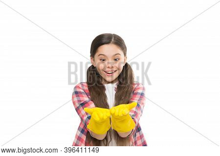 Housekeeping Duties. Cleaning Supplies. Girl Rubber Gloves For Cleaning White Background. Teach Kid