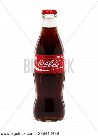 Bucharest, Romania - August 4, 2017. Coca-cola Glass Bottle Of 330 Ml Isolated On White