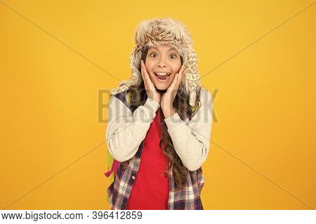 What A Wonderful Surprise. Surprised Child On Yellow Background. Surprised Girl In Fashion Winter St