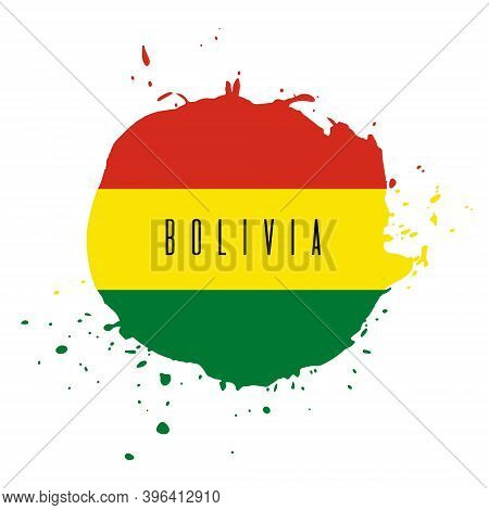 Bolivia Vector Watercolor National Country Flag Icon. Hand Drawn Illustration With Dry Brush Stains,