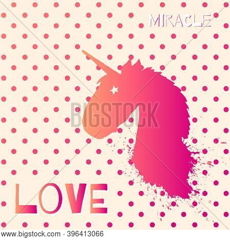 Magic Unicorn Head Vector Logo Template With Watercolor Splashes Isolated On Polka Dot Background. P