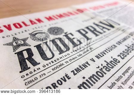 Brno, Czech Republic - July 15, 2017: The Ancient Rude Pravo (red Justice) Newspapers Of The Communi
