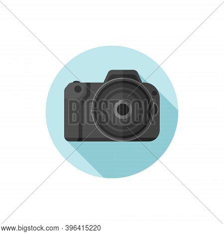 Vector Flat Design Slr Camera. Vector Illustration