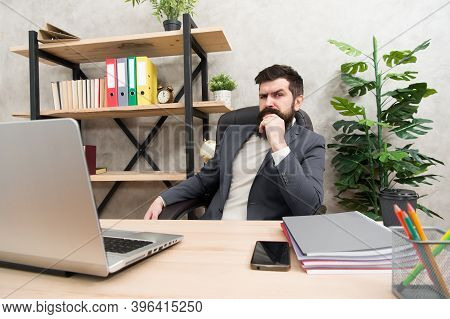 Developing Business Strategy. Risky Business. Concentration And Focus. Man Bearded Boss Sit Office W