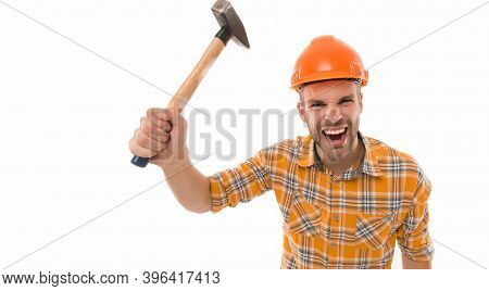 Man Shouting. Man Builder Hard Hat. Threaten With Hammer. Angry Aggressive Guy. Improvement And Reno