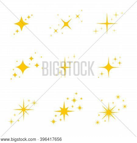 Gold, Yellow Stars Twinkles And Sparkles Icons. Bright Flash, Dazzle Light, Shining Glow Effects Set