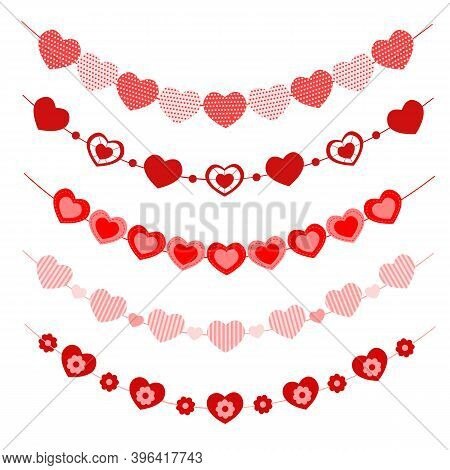 Set Of Hearts Garlands. Bunting For Valentine Day Party, Wedding, Romantic Date. Decorations With He